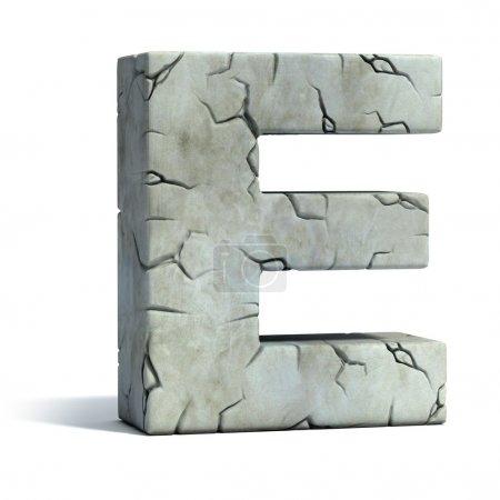 Letter E cracked stone 3d font