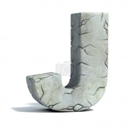 Letter J cracked stone 3d font