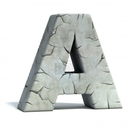 Photo for Letter A cracked stone 3d font illustration - Royalty Free Image
