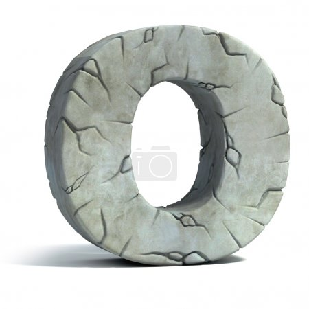 Letter O cracked stone 3d font