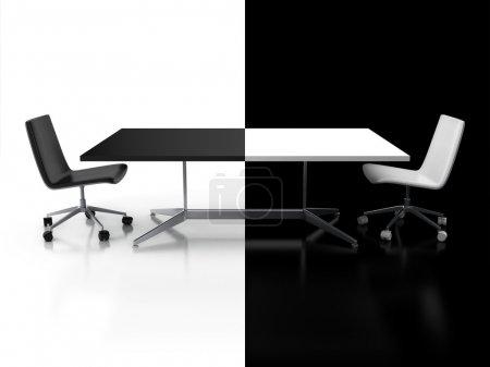 Photo pour Négociations, confrontation 3d concept - illustration de bureau noir et blanc - image libre de droit