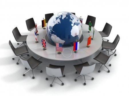 Photo pour Organisation des Nations Unies, la politique mondiale, diplomatie, stratégie, environnement, illustration de concept 3d monde leadership - image libre de droit