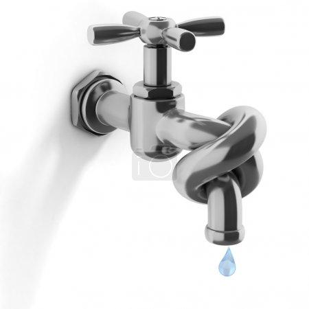 Photo pour Crise de l'eau 3d concept - robinet attaché dans une illustration noeud - image libre de droit