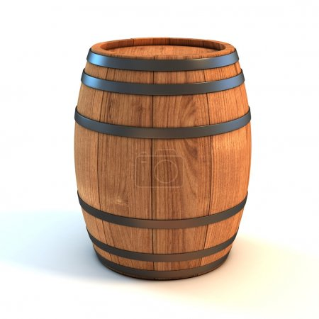 Wine barrel over white background