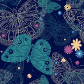 Beautiful butterfly on a seamless background in vector