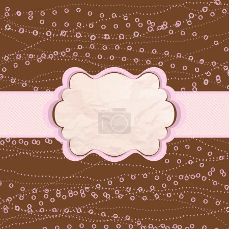 Illustration for Brown and pink valentine vintage card template. And also includes EPS 8 vector - Royalty Free Image