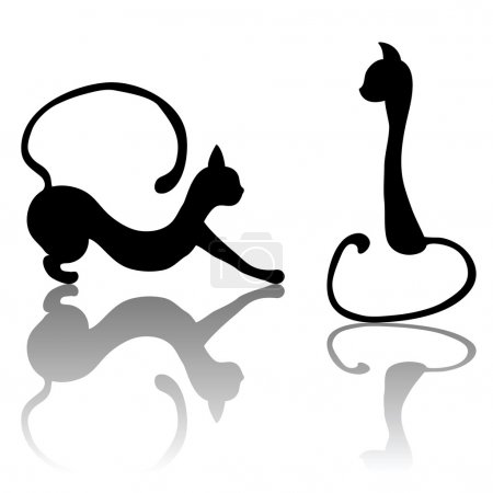Black cat set silhouette for your design. EPS 8