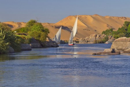 Typical sailing on the Nile. In the background san...