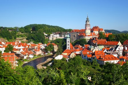 General view of the city named Cesky Krumlov in South Bohemia (Czech Republic, Central Europe)