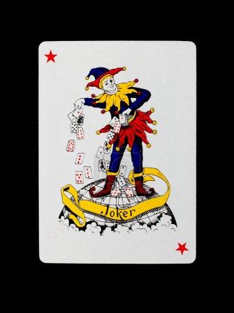 Photo pour Jeux de cartes (joker) isolé sur un fond noir - image libre de droit