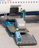 Boeing 767-332ER of Delta is being loaded