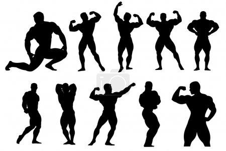 Illustration pour Fitnes pose silhouettes - image libre de droit
