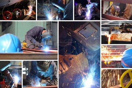 Photo pour Soudeur au travail dans l'industrie métallurgique, écran partagé - image libre de droit