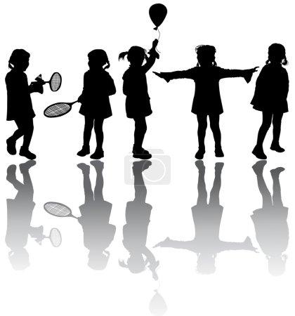Illustration pour Cinq silhouettes enfants noires - image libre de droit