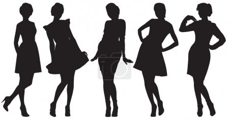 Vector silhouette of pretty women