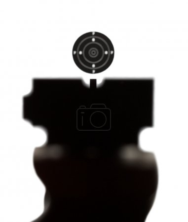 Photo for View of correct aiming into airgun sport target as it sportsmen watch - Royalty Free Image