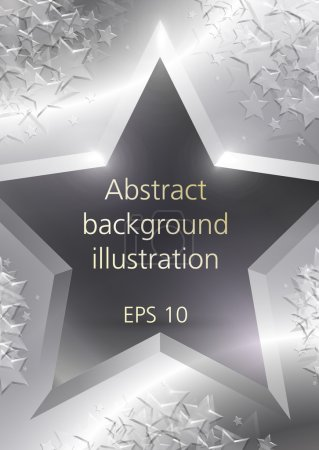 Abstract shining silver stars gold vector background