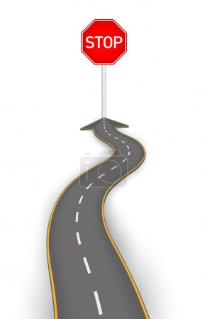 Road to stop board vector illustration