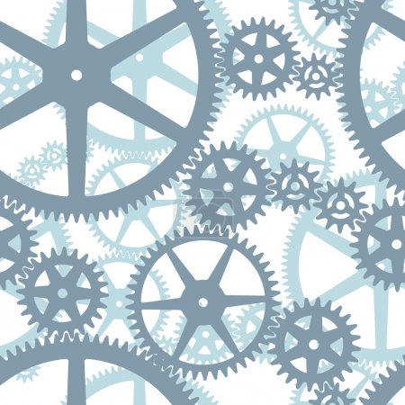 Illustration for Two layers seamless cogwheels on isolated background - Royalty Free Image