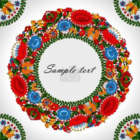 Illustration pour Motifs floraux décoratifs sur le motif folklorique hongrois - image libre de droit