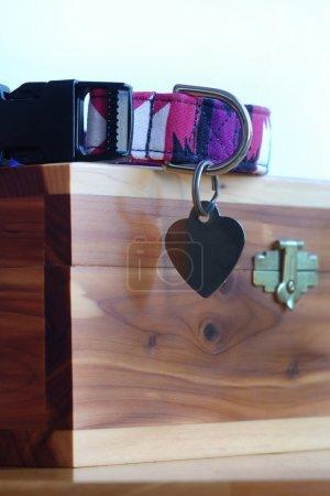 Photo pour Un collier d'animal familier et une étiquette en forme de coeur, faisant reposer sur une urne d'incinération de bois. - image libre de droit