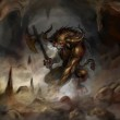 Angry minotaur with axe in cave