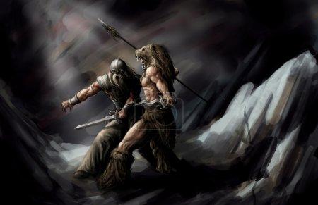 Photo pour Deux adorateurs se battant jusqu'à la mort - image libre de droit