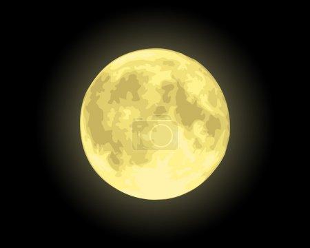 Illustration pour Vecteur réaliste lune jaune - image libre de droit