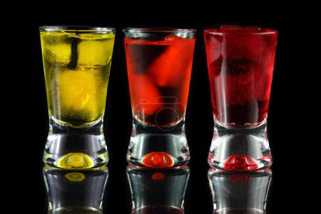 Yellow, orange and red shots