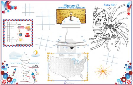 Placemat 4th of July Printable Activity Sheet 1