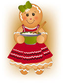 Cute little gingerbread girl with her mixing bowl wooden spoon green bow candy nose and red apron