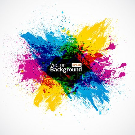 Illustration for CMYK Ink Splash Vector Background - Royalty Free Image
