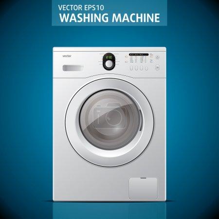Illustration pour Machine à laver fermée sur fond bleu. Vecteur - image libre de droit