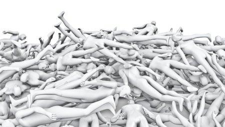Male mannequins pile