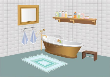 Vector illustration of bathroom with mirror, shelf with cosmetics