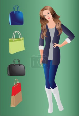 Beautiful vector girl and bags