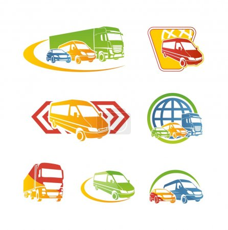 Illustration for Business logos with cars silhouettes - Royalty Free Image