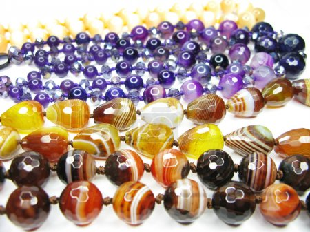 Backgound of colorful semiprecious beads