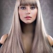 Fashion Blond Girl. Beautiful Makeup and Healthy H...