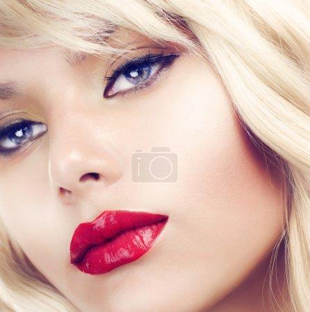 Beautiful Blond Woman Makeup.Red Lipstick.Retro Style