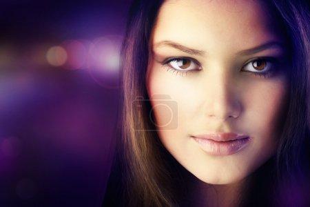 Beautiful Disco Girl Face. Perfect Skin