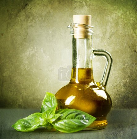 Olive Oil With Fresh Basil. Vintage Styled