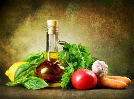 Healthy Vegetables And Olive Oil. Vintage Styled