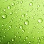 Water drops over green. Closeup...