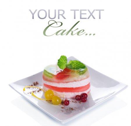 Cake Over White. Light Dessert