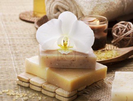 Photo pour Produits naturels pour spa - image libre de droit
