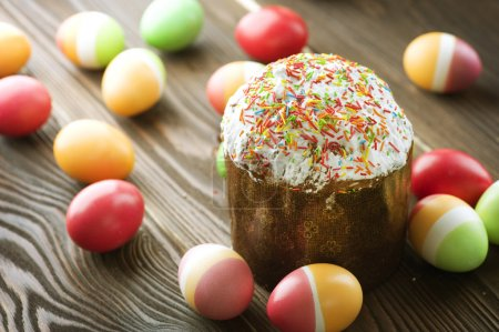 Colorful Easter Eggs And Cake