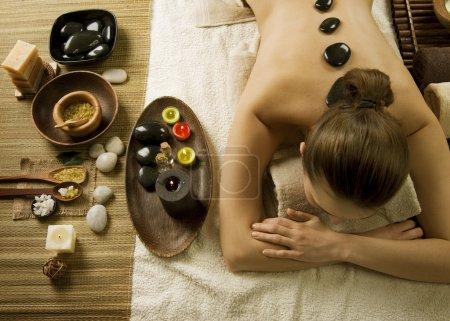 Spa Woman. Hot Stones Massage