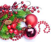 Vánoční dekorace nad bílá