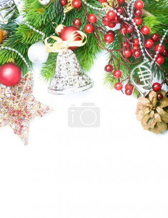 Christmas border over white